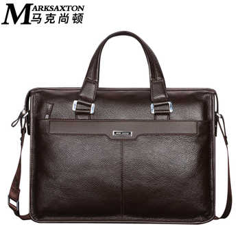 "MARK SAXTON Brand Designer 100% Guarantee REAL Genuine Leather Bag 14"" Laptop Bag Perfect Quality Blue Men Business Briefcase"