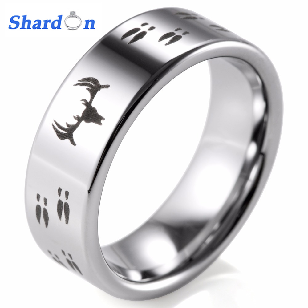 SHARDON Etched Deer Head Hunting Flat Tungsten Ring Mens Wedding Band bague mens rings anillos anel men rings engagement