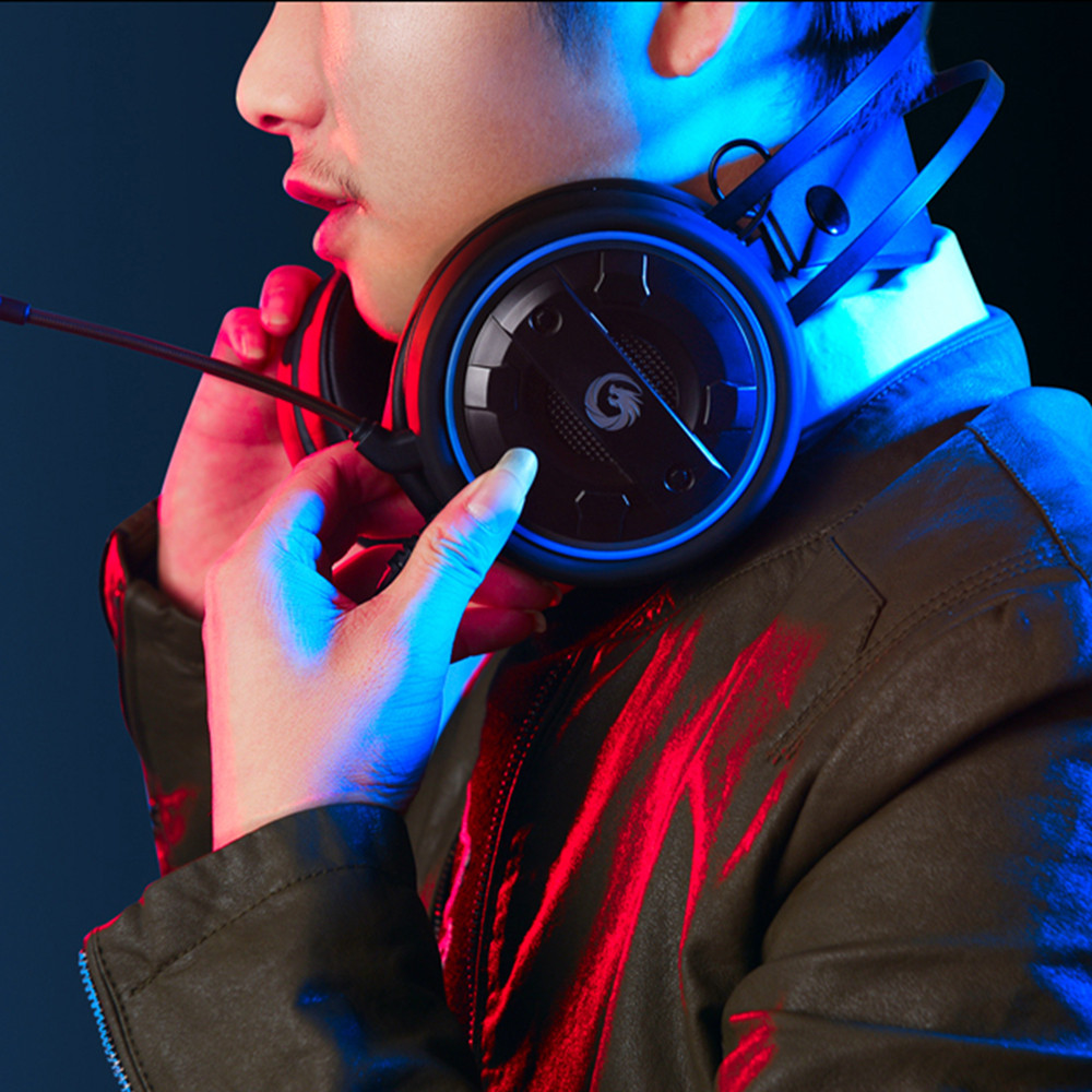 HUANLANG Universal Wired Gaming Earphone Headphone for Mobile Computers Blue