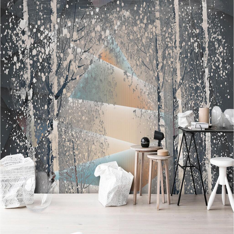 Abstract 3d Wallpaper Free Desktop Backgrounds Personalized Trees Snowflakes Vintage Wall Decor Mural Wall Art Wall Painting