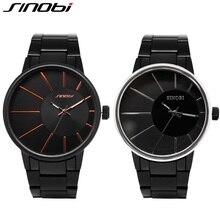 SINOBI New Fashion Men Wrist Watches Black Watchband Top Luxury Brand Male Golden Geneva Quartz Clock Gents Montres Hommes 2016