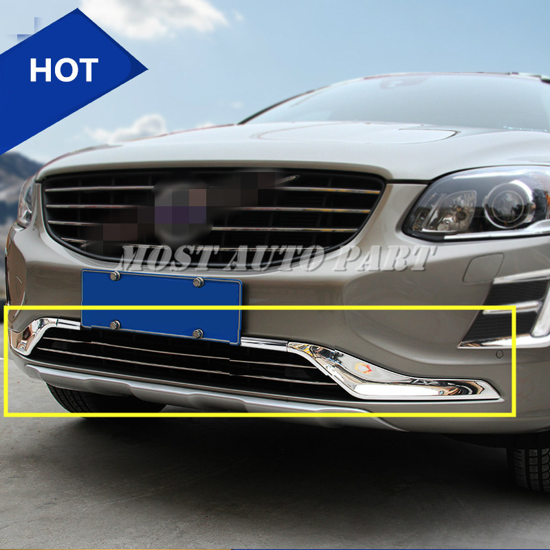 ABS Front Bumper Grille Grill Moulding Trim Cover 4pcs For VOLVO XC60 2014 2016