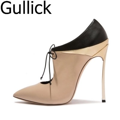 Hottest Selling Women Mixed Color Pointed Toe Lace Up Shoes Spring Fashion Office Lady High Metal Heel 10cm Pumps Free Shipping цена