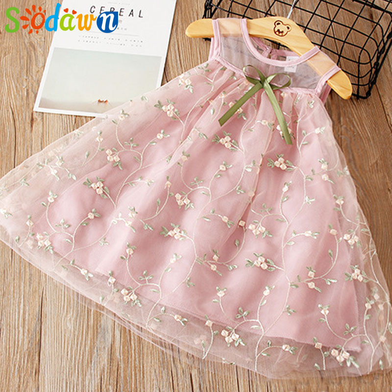 Sodawn Girls Dresses Children Clothes Princess Dress Mesh Embroidered Vest Dress 2018 Summer New Fashion Baby Girls Clothes