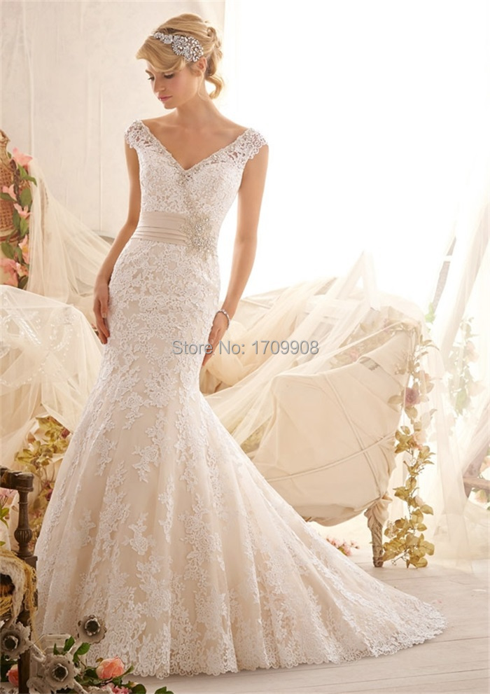 New arrival ivory wedding dresses vintage lace 2015 v neck for Vintage beaded lace wedding dress