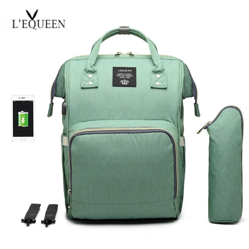 16e0016ba6f7 LEQUEEN USB Baby Diaper Bag Backpack Maternity Bag Nappy Mama Travel Bag  Mummy Waterproof Baby Nappy Stroller Handbag Baby Care
