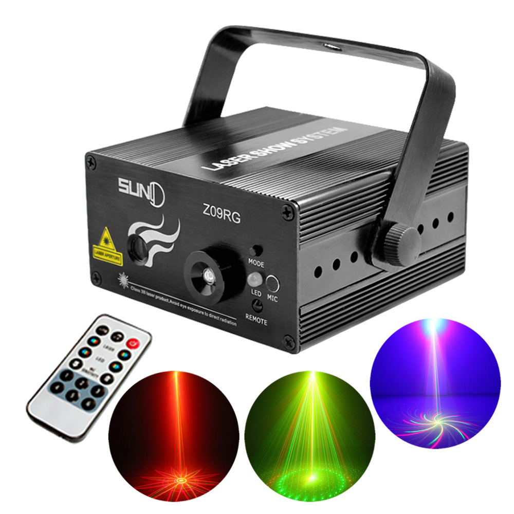 Mini 9 Big Gobos RG Laser Projector Lights 3W Blue Background LED Mix Effect DJ Home Garden Party Show Stage Lighting Z09RG