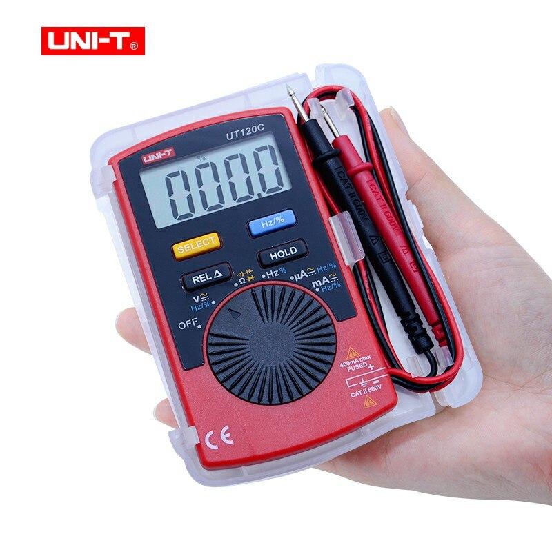 UNI-T Mini multímetro Digital voltímetro portátil Tester Meter UT120C AC/DC frecuencia amperímetro Multitester