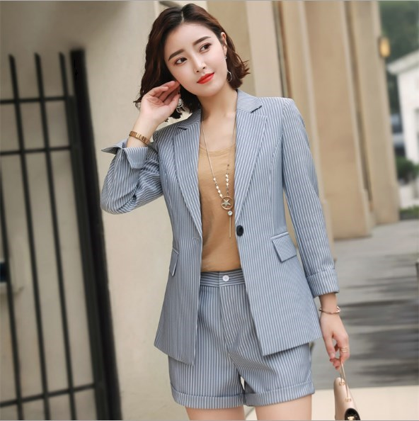 2019 Womens Pink Grey Striped Pant Suits 2 Pieces Set Clothes British Style Pant Suits for Women Long Sleeve Blazer and Trouser