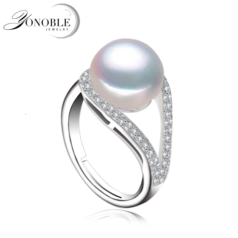 Real Lady Pearl Ring 925 Silver Wedding Adjustable Big Natural Pearl Ring For Women Wife Anniversary Birthday Gift White Pink