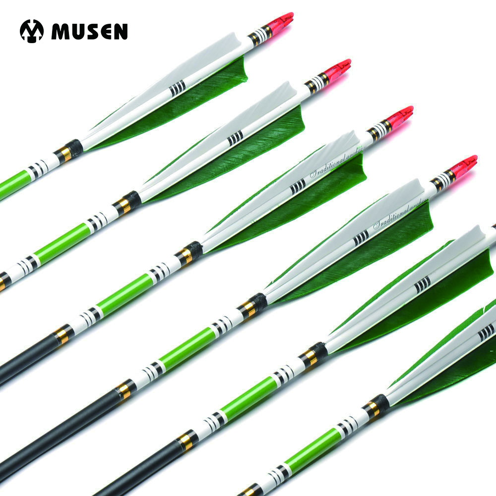 US RU 6/12/24pcs 80/85cm 2 Green And 1 White Arrows Spine 500 Carbon Arrows OD7.6mm ID6.2mm Turkey Feather For Hunting Shooting
