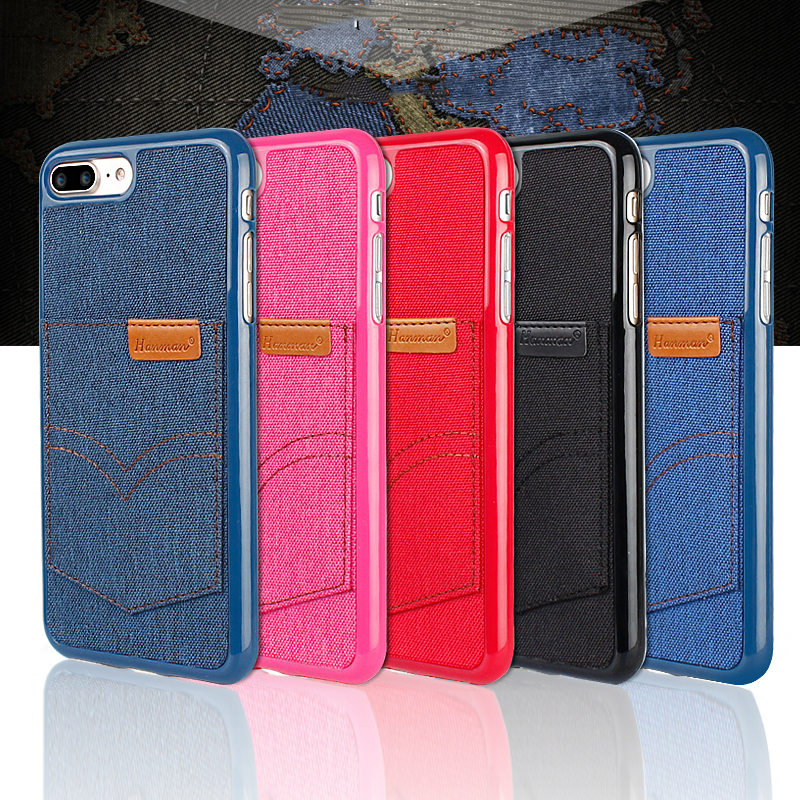 Brand hanman Leather Flip denim Luxury Jeans Case For Galaxy S8&S8 Plus Soft TPU Phone Protective Cover for iphone 6 6s 7 8 plus