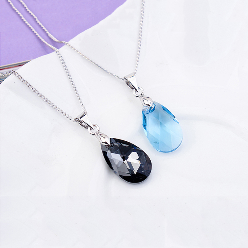 Bulage Tear of Joy Pear shaped Pendant Necklaces Crystals From SWAROVSKI Silver Color Chain For Women Office Jewelry Gift in Pendant Necklaces from Jewelry Accessories