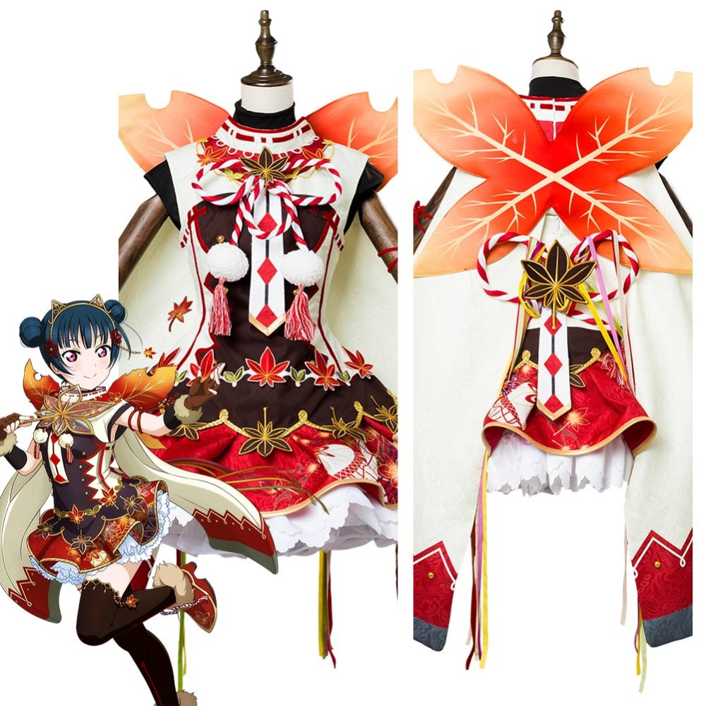 Love Live! Yoshiko Tsushima Aqours Maple Leafs Ver Maid Kimono Cosplay Costume