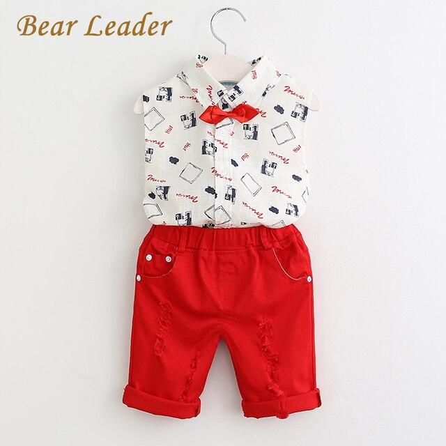 Bear leader conjuntos muchachos de la ropa 2017 nuevo estilo de moda de verano ropa de niños sets de impresión camisa + pantalones + cinturón rojo 3 unids para niños ropa