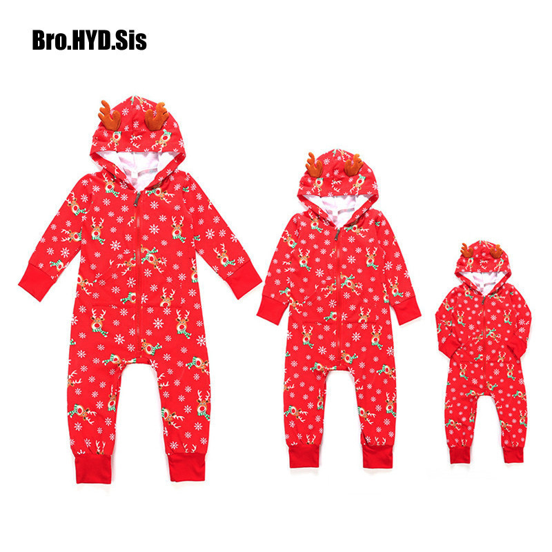 Christmas Family Matching Pajamas Sets Men Kid Rompers Adult Elk Snowflakes Print Outfit Pjs Sleepwear Matching Clothes Xmas christmas elk snowflakes printed wall stickers