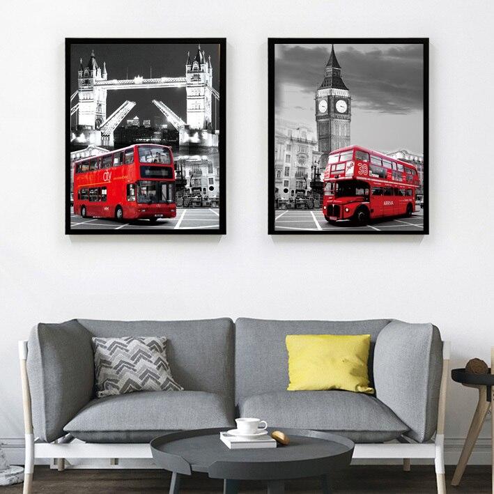 2 개 캔버스 아트 그림 벽 런던 도시 사진 홈 Decortive 벽 예술 캔버스 클래식 그림 거실