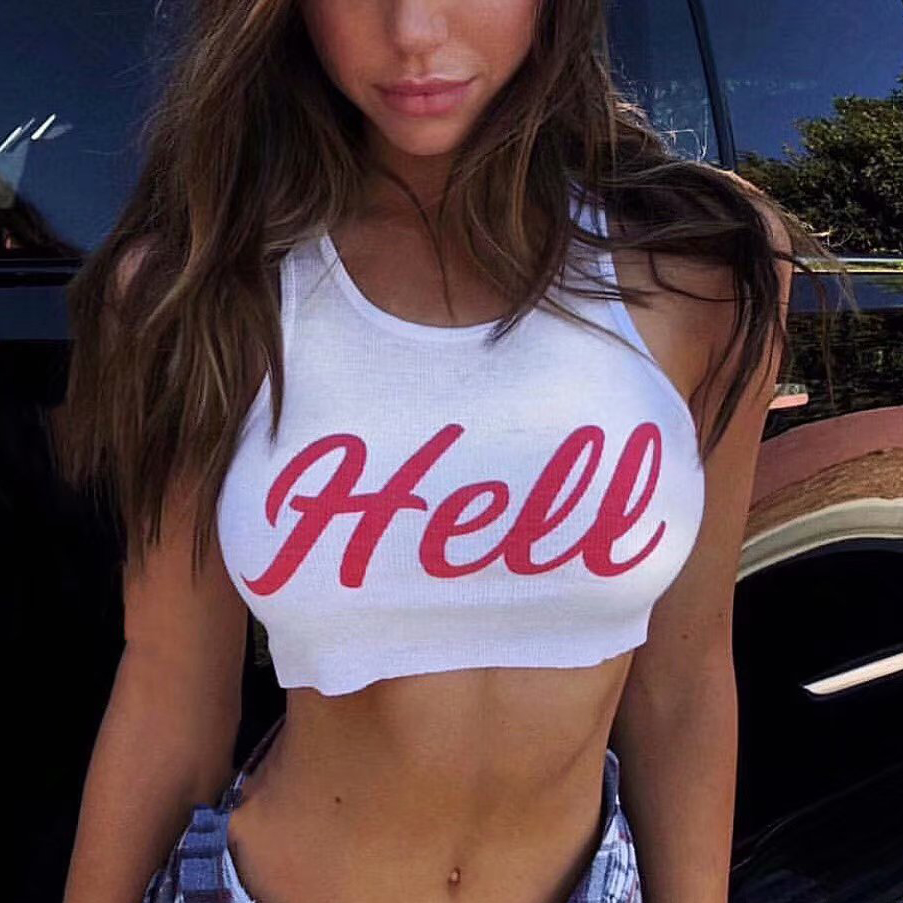 Tank-Top Knitted Hell Short Letter Crop Printed Sexy Causal Women Slim Front Red Length