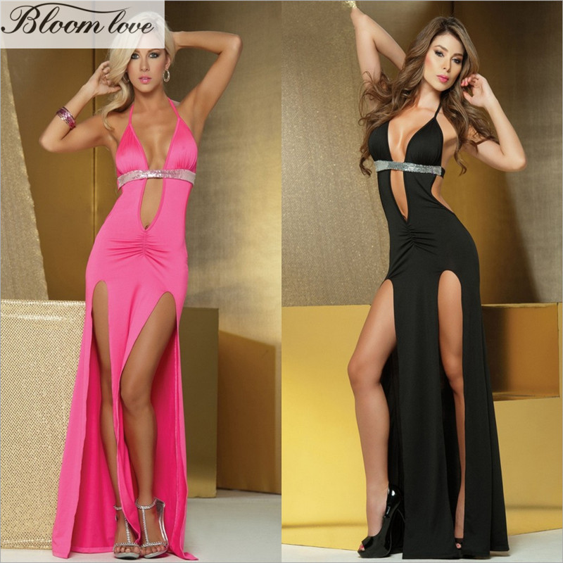 Plus size sexy long night gowns split dressing nightgown evening night dress nighty for women sexy sleepwear E9