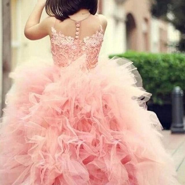 Очаровательны девушка Праздничное платье розовый Кружево Аппликации Раффлед на молнии персик органзы Тюль бальное платье Детское свадебное платье Sheer Средства ухода за кожей Шеи