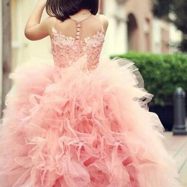 Adorable Girl Pageant Dress Pink Lace Appliques Ruffled Zipper Up Peach Organza Tulle Ball Gown Child Wedding Dress Sheer Neck black casual round neck ruffled dress