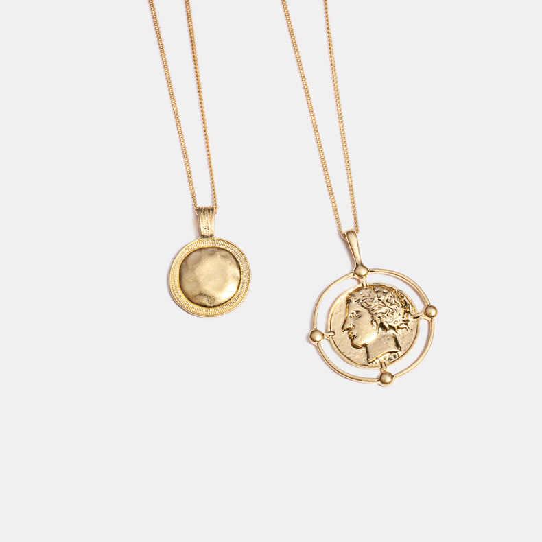 HUANZHI בציר זהב צבע אדם פנים ראש דיוקן מגולף מטבע רב שכבתי תליון ארוך שרשראות לנשים בנות מסיבת מתנה