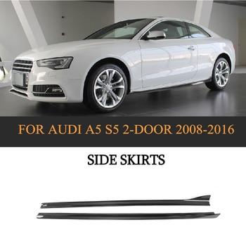 Carbon Fiber Black Auto Body Aprons Side Skirts for Audi A5 S5 S Line Coupe 2 Door Convertible 2008-2016 2PCS FRP jc 20130709 1