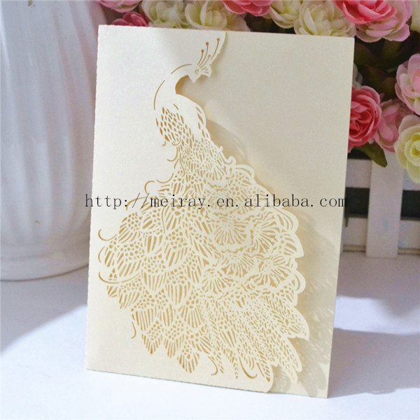 Peacock Wedding Card, Peacock Feather Lace Ivory Invitation ,elegant Lase  Cut Invitation Card