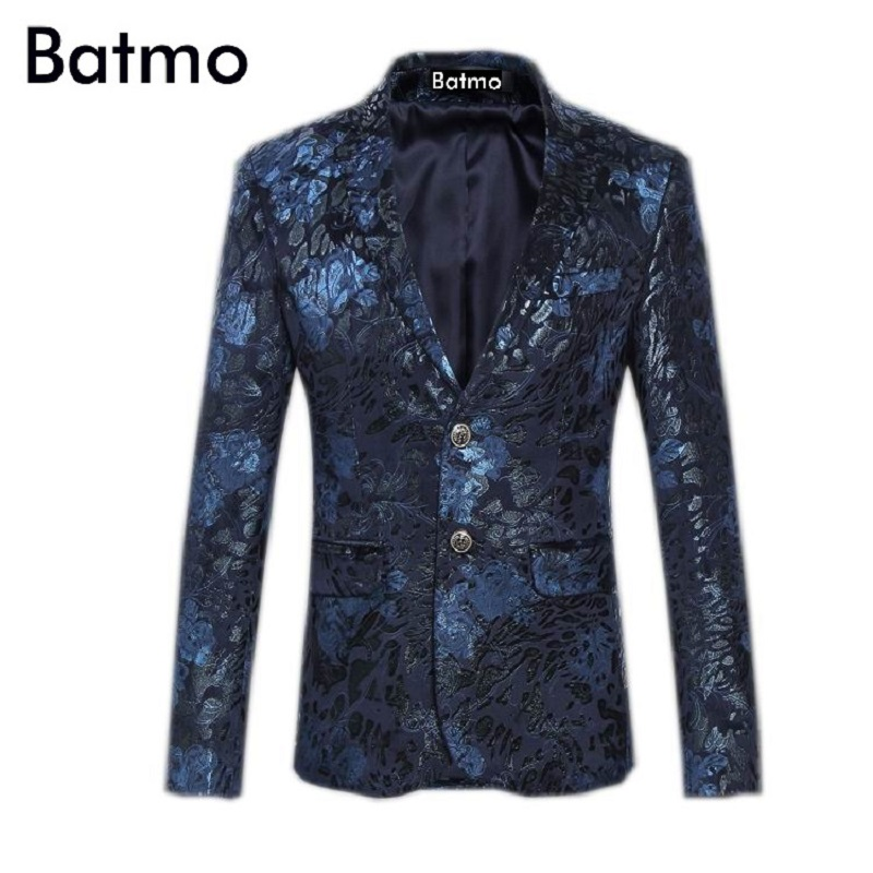 2017 new arrival high quality velvet casual printed flowers blazer men printed jacket men size S