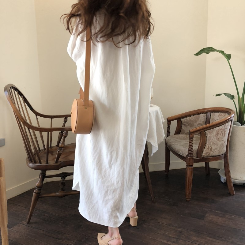 Blue Long Sleeve Long Shirt Dress Spring Casual Patchwork White cotton Dresses Collar Buttons Loose Dresses Robe Femme Vestido 25