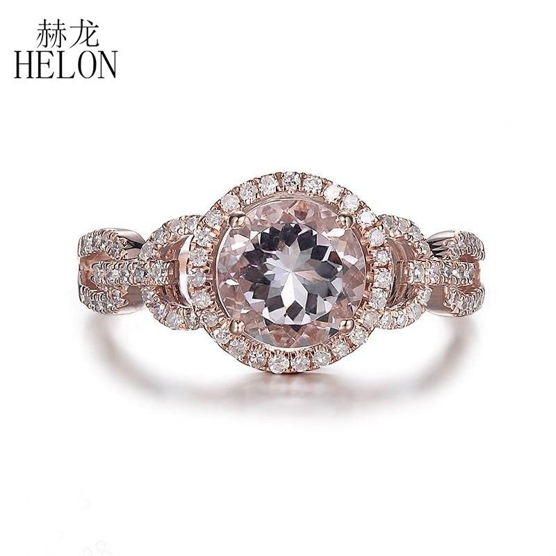 купить HELON Romantic Certified Round 1.12ct Morganite Ring Solid 14K Rose Gold Diamonds Ring For Women Engagement Party Gift Jewelry по цене 23705.15 рублей