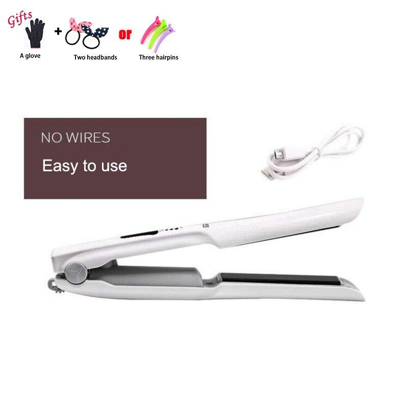 2 en 1 Sans Fil Cheveux Bigoudi Redresseur Mini De Charge Cheveux Bigoudi USB Droite Défriser Les Cheveux Style Outillage A24