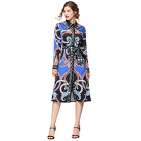 Baroque Printed Womans Mid Dress Spring New Female Casual Dresses Single Breasted Shirt Dresses 2019 Dress Woman