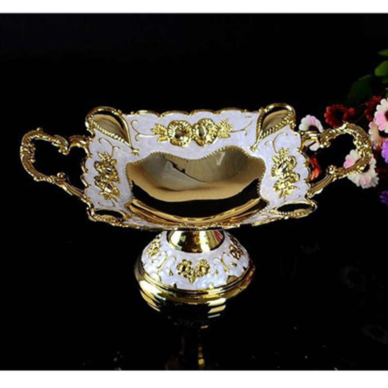 New Shiny Golden Plated Fruit Dish With Handle Dessert Plate Sweet Dishes Epoxy Fruit Rack Plates For Wedding Or Party 18X7.5CM