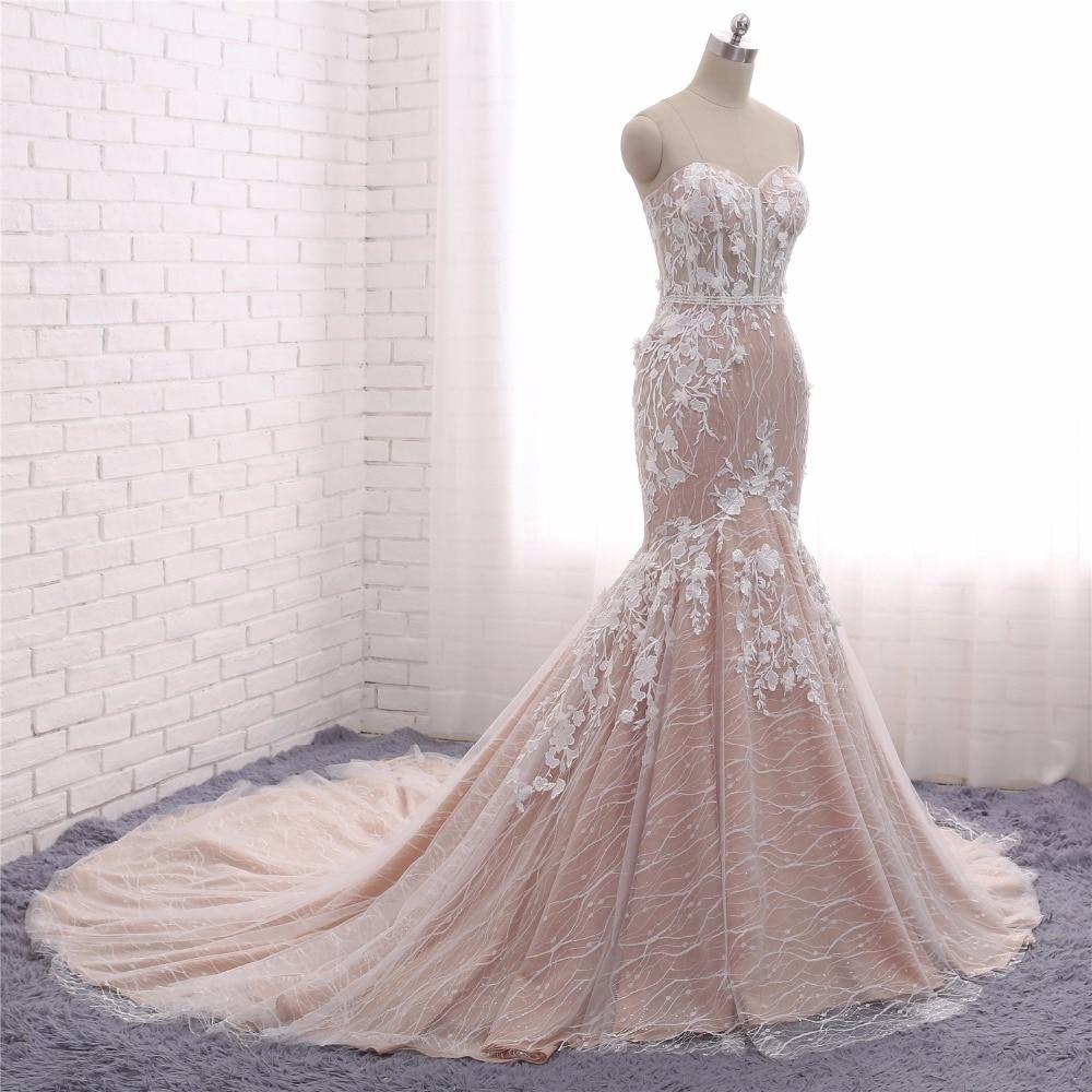Новые весенние Свадебные платья Русалочки 2018 Милое Свадебное платье со шнуровкой сзади со шлейфом с аппликацией из тюля Vestido de noiva
