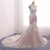 New Spring Mermaid Wedding Dresses 2018 Sweetheart Lace Up Back Court Train Appliques Tulle Bridal Gowns
