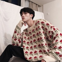 Sweater Men Fashion Flower Print Loose Retro Long Sleeve O Neck Knit Pullover Man Warm Autumn Winter New Streetwear Male Clothes
