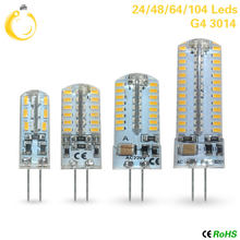 G4 quente conduziu a lâmpada 220 v dc12v 24 48 96 104led em vez de 20 w-30w lâmpada halógena de poupança de 360 graus lâmpada de cristal de luz