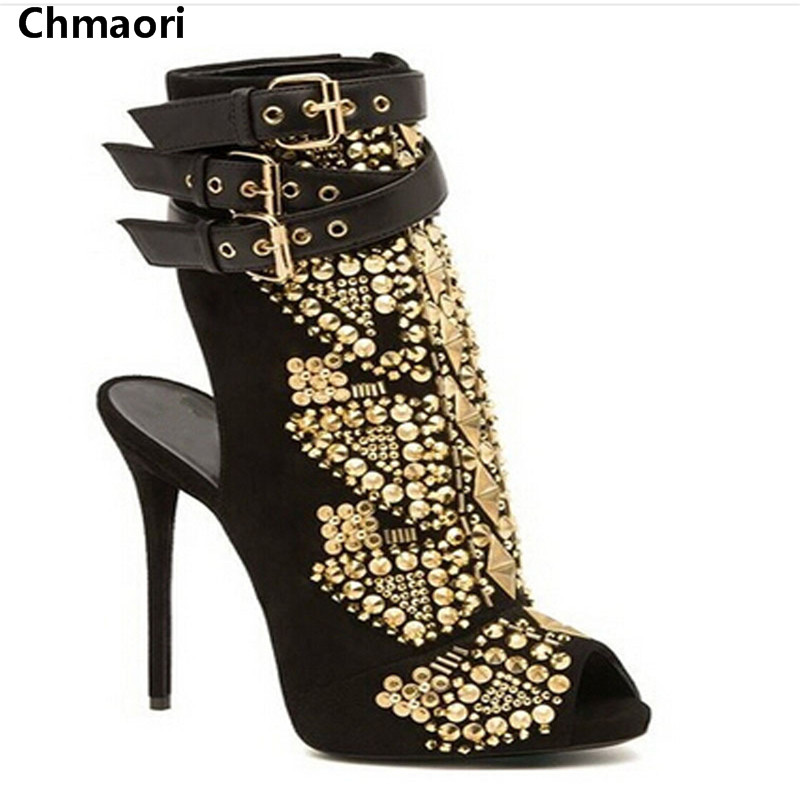 все цены на Fall Style New Gold Rivets Embellished Ankle Boots Suedel Leather Black High Heels Botas Sexy Opening Toe Gladiator Sandal Boots онлайн