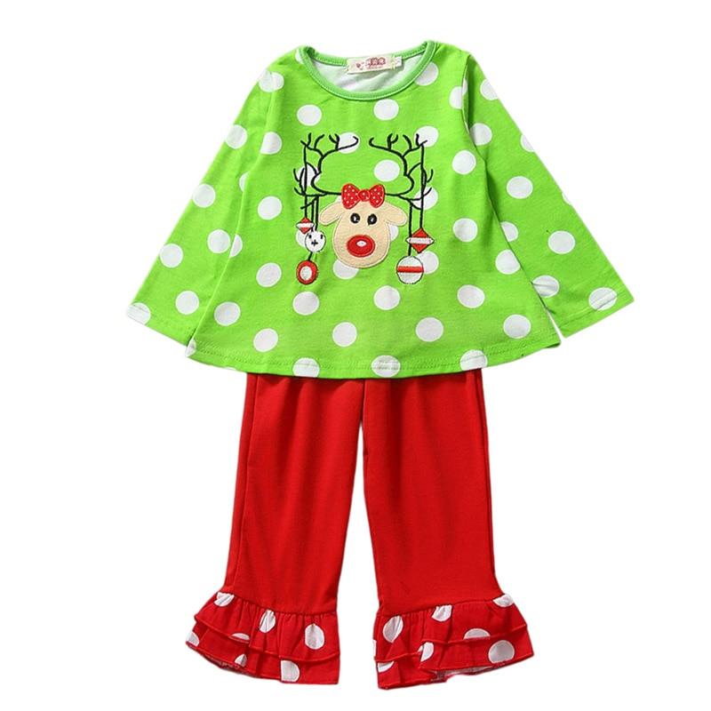 Children Cotton Clothing Sets 2 Pcs Christmas Elk Santa Claus Snowman Long Sleeve font b Shirt