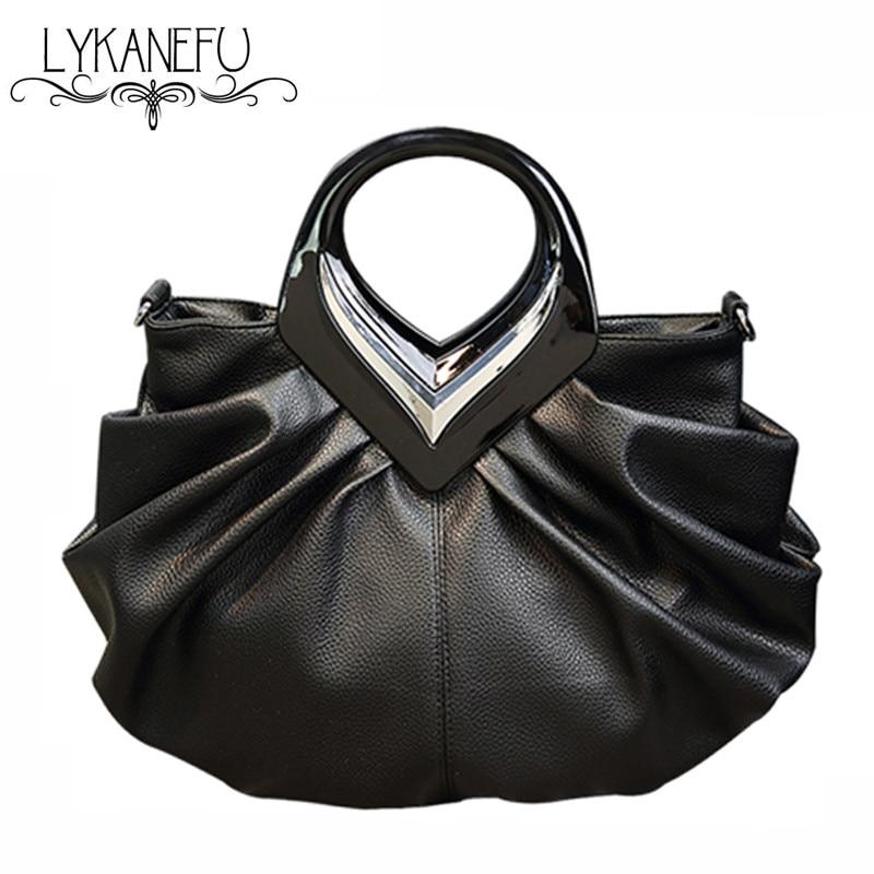 LYKANEFU Women Handbags High Quality Tote Bag for Women Black Fashion Clip Hobos PU Leather Handbag Designer Bolsa Feminina high quality tote bag composite bag 2