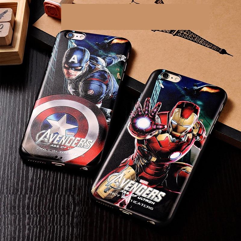 Marvel Avengers <font><b>Spider</b></font> <font><b>man</b></font> Dark Knight Hard <font><b>Case</b></font> Cover for <font><b>iPhone</b></font> <font><b>6</b></font> 6s plus4.7 5.5 Batman Superman S logo Captain America Shield