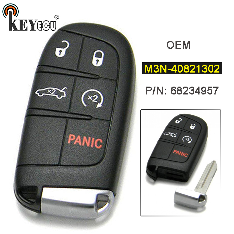 KEYECU M3N-40821302 OEM véritable 4 + 1 5 bouton sans clé entrée télécommande intelligente proximité porte-clés pour Dodge Challenger chargeur 2015-2018