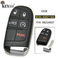 Keyecu M3N-40821302 oem 정품 4 + 1 5 버튼 열쇠가없는 항목 원격 스마트 근접 키 fob 닷지 챌린저 충전기 2015-2018
