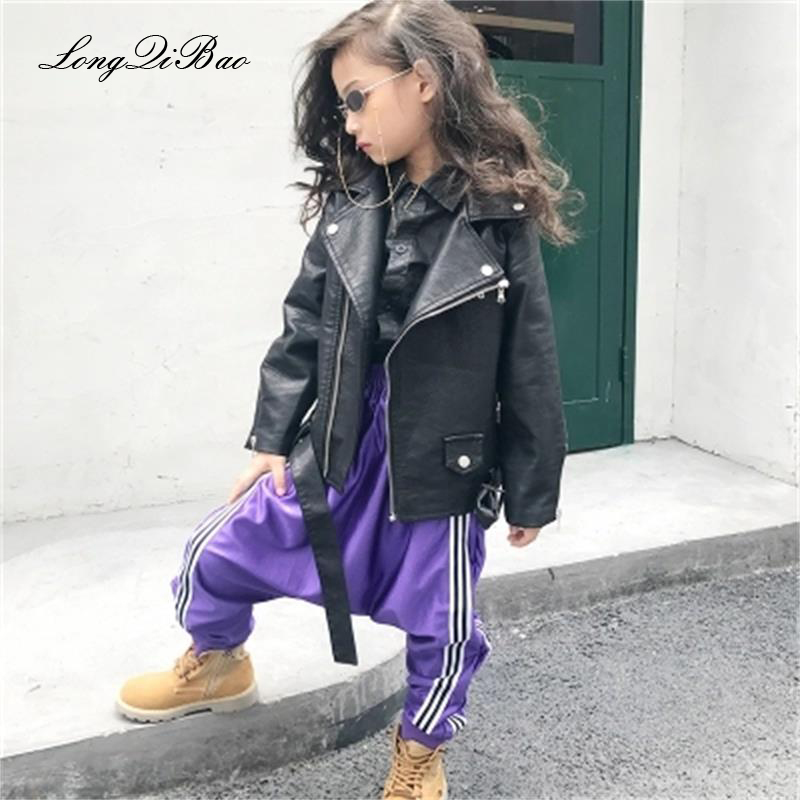 Autumn children's leather jacket girl PU leather jacket girl baby girl boy jacket fleece graphic embroidered pu leather jacket