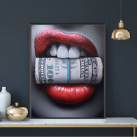 1 Piece Red Lips with Money Quote Poster Print Wall Art Oil Painting on Canvas Picture Living Room Bar Idea Creative Home Decor