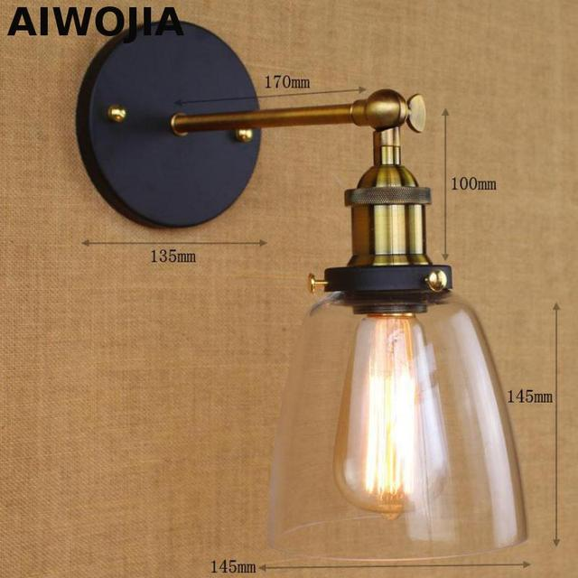 Loft Vintage Industrial Edison Wall lamps Clear Glass Wall Sconce ...