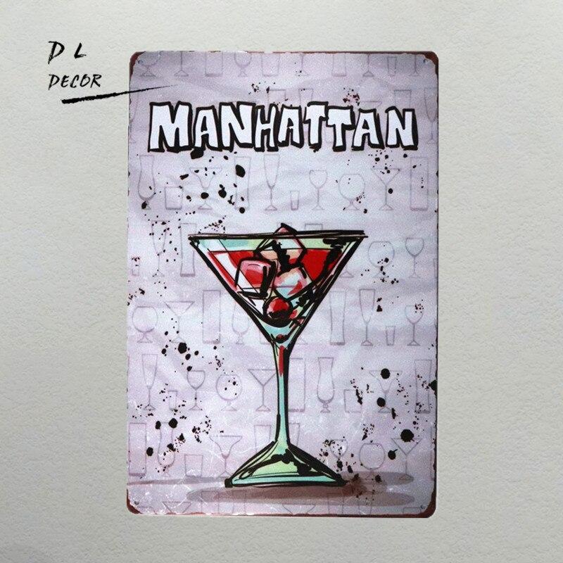 Club, MANHATTAN, Metal, Poster, Beer, Cafe