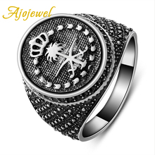 Ajojewel Brand Best Fashion Men Finger Ring Designs 2016 Silver Crown Jewelry Gift