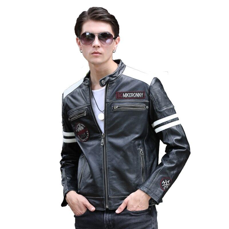 Jacket Cowhide Plus-Size Biker's Motorcycle Vintage Genuine Short Black Slim Coat Men